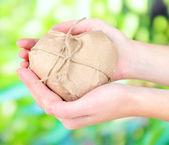 自然の背景に茶色のクラフト紙に包まれて心を持つ女性の手 — ストック写真