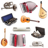 Musical instruments isolated on white — Stock Photo
