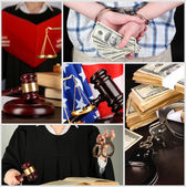 Conceptual collage of litigation — Stock Photo