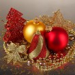 Christmas decoration on gray background — Stock Photo