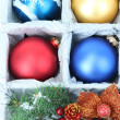 Beautiful packaged Christmas toys, close up — Foto de stock #32936343