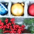 Beautiful packaged Christmas balls, close up — Stock fotografie #32936355
