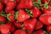 Strawberries in bowl close-up background — Stock Photo