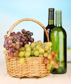 Ripe grapes in wicker basket, wine bottles, on bright background — Stock Photo
