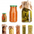 Set of canned vegetables isolated on white — Stock Photo