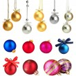Stock Photo: Set of Christmas balls isolated on white
