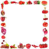 Telaio di frutta e verdura isolato su bianco — Foto Stock