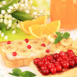 Delicious toast with berries and fruits on table on bright background — Stock Photo