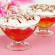 Stock Photo: Tasty jelly in bowls on table close-up
