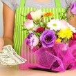 Florist makes flowers bouquet — Stock Photo #33018717