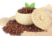 Coffee beans in bowl on white background — Stock Photo
