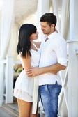 Beautiful young romantic couple, outdoors — Stock Photo