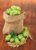 Fresh green hops in burlap bag and barley, on wooden background — Stock Photo