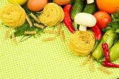 Koken concept. boodschappen op tafellaken achtergrond — Stockfoto