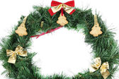 Christmas wreath decorated with cookies isolated on white — Стоковое фото