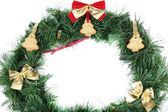 Guirnalda de navidad decorado con galletas aisladas en blanco — Foto de Stock