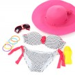 Swimsuit and beach items isolated on white — Stock Photo #33084825