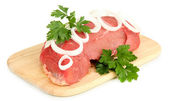 Raw beef meat isolated on white — Stock fotografie