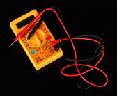 Multimeter on black background — Stok fotoğraf