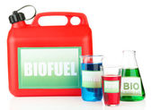 Bio fuels in canister and vials — Stock Photo
