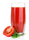 Tomato juice in glass, isolated on white — Stock Photo