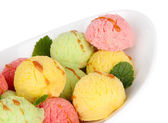 Delicious ice cream in bowl closeup — Foto Stock