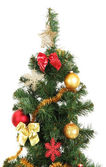 Decorated Christmas tree isolated on white — Стоковое фото