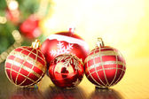 Christmas decorative balls on bright background — Stock Photo