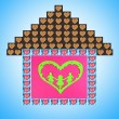 Collage of house made of heart-shaped things on blue background — Stock Photo #33153809