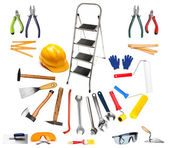 Set of different tools isolated on white — Stock Photo