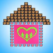 Collage of house made of heart-shaped things on blue background — Stock Photo