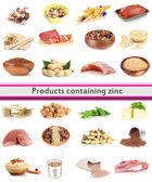 Collage of products containing zinc — Stock Photo