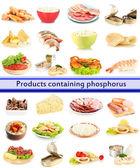 Products containing phosphorus isolated on white — Stock Photo