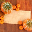 Old paper, small tangerines and pumpkins on wooden background — Stock Photo #33167581