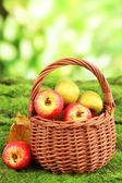 Small apples in wicker basket on nature background — Stock Photo