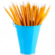 Colorful pencils and other art supplies — Stock Photo