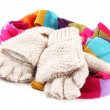 Wool fingerless gloves and multicolor scarf, isolated on white — Stock Photo #33178299