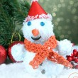 Beautiful snowman and Christmas decor, on bright background — 图库照片