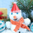Beautiful snowman and Christmas decor, on blue background — Photo