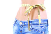 Beautiful woman stomach isolated on white — Stock Photo