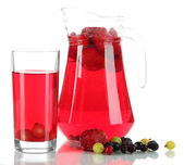 Pitcher and glass of compote isolated on white — Stock Photo