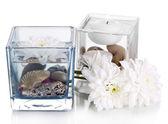 Decorative vases with isolated on white — Stock Photo