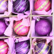 Beautiful packaged Christmas balls, close up — Foto de stock #33180101