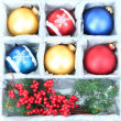 Beautiful packaged Christmas balls, close up — Foto de stock #33180383