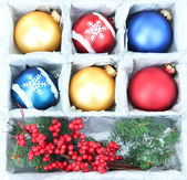 Beautiful packaged Christmas balls, close up — Stock fotografie