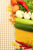 Cooking concept. Groceries on tablecloth background — 图库照片