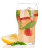 Basil lemonade with strawberry in glass, isolated on white — Stock Photo