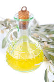 Olive oil and branch isolated on white — Stock Photo