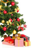 Decorated Christmas tree with gifts isolated on white — 图库照片