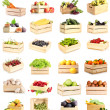Collage of fruits and vegetables in wooden boxes isolated on white — Foto de Stock